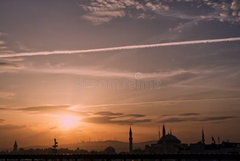 Landschap Istanboel in zonsondergang stock foto's