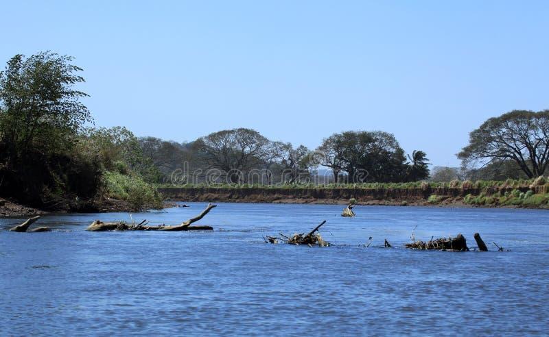 Landschap langs de Tarcoles-Rivier royalty-vrije stock afbeeldingen