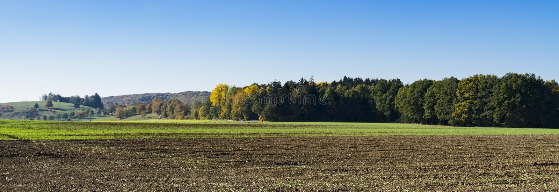 Landschap langs Romantische Weg, Buchdorf, Duitsland Panorama royalty-vrije stock foto's