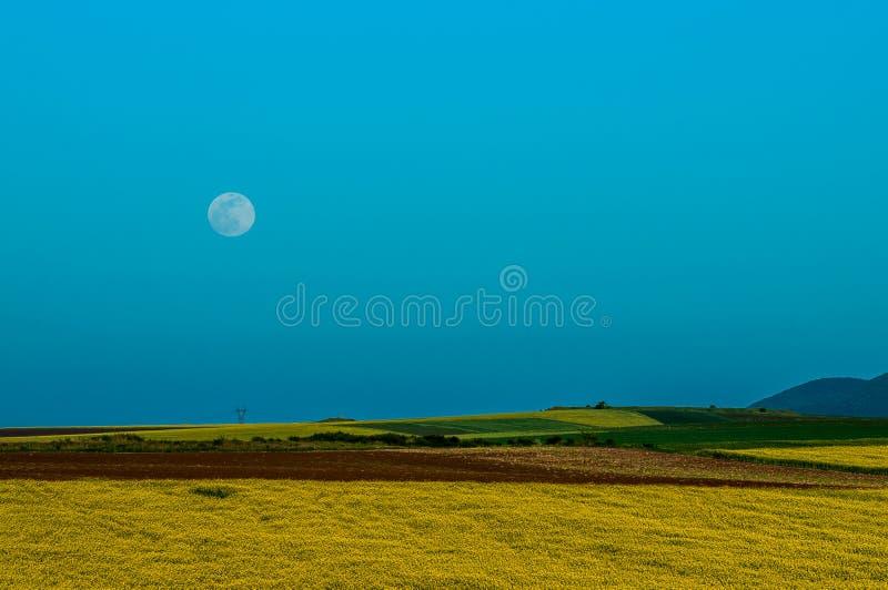 Landschap - maan, hemel, gebied royalty-vrije stock foto's