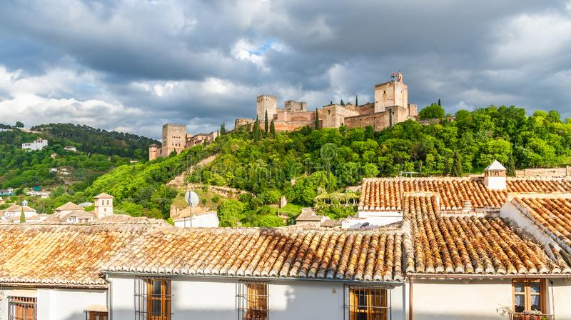 Landschap met Alhambra paleis, Granada, Andalusia, Spanje royalty-vrije stock foto's