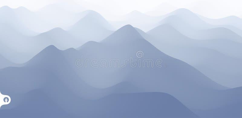 Landschap met bergen en mist Bergachtig terrein abstracte achtergrond Vector illustratie stock illustratie