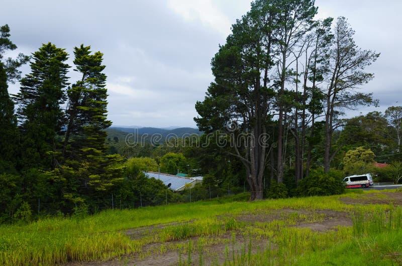 Landschap met bergen en ziekenwagen stock foto's