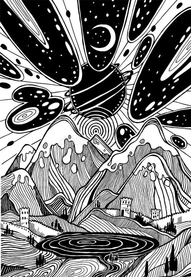 Landschap met bergen onder meteoorstaking stock illustratie