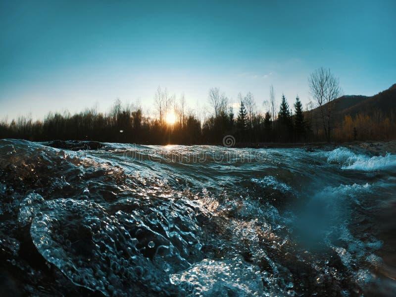 Landschap met bergenbomen en een rivier vooraan stock foto