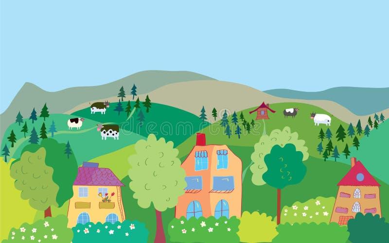 Landschap met bergheuvels, koeien, bomen, stock illustratie
