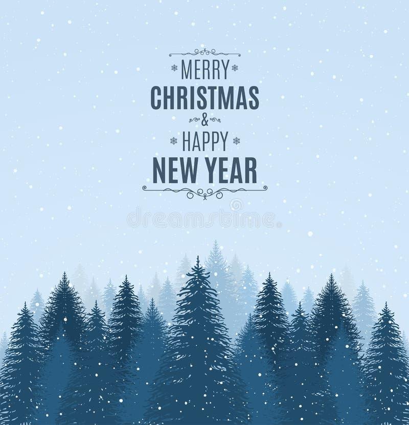 Landschap met blauwe sneeuwpijnbomen, sparren, naald bos, dalende sneeuw Bos Vrolijke Kerstmis van de vakantiewinter en Gelukkig  royalty-vrije illustratie