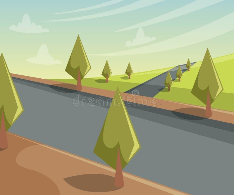 Landschap met bomen en weg vector illustratie