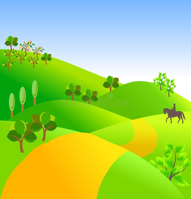 Landschap met bomen en weg royalty-vrije illustratie