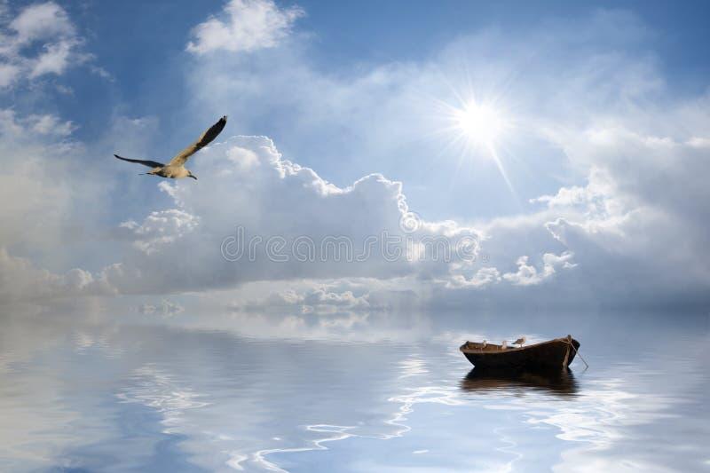 Landschap met boot en vogels stock afbeelding