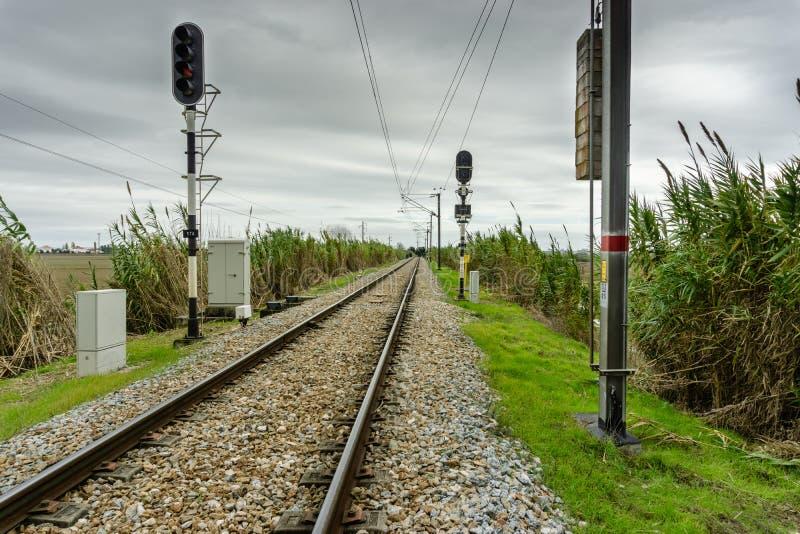 Landschap met de belangrijke lijnen van de spoorwegspoorweg stock fotografie