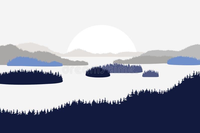 Landschap met de merenrivieren van heuvelsbergen Sparren in de voorgrond Vlakke stijl stock illustratie