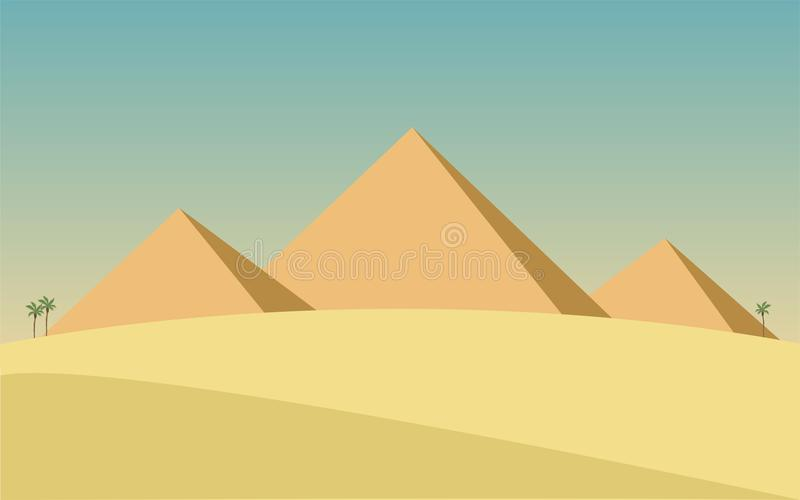 Landschap met de piramides van Egypte vector illustratie