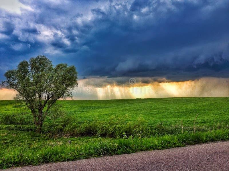Landschap met donkere wolk en stralen van de zon royalty-vrije stock foto