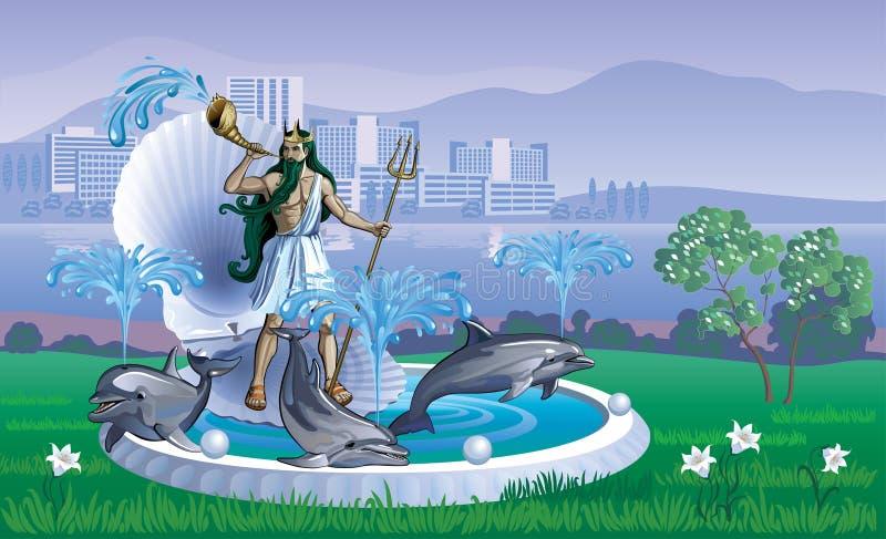 Landschap met een fontein van Neptunus royalty-vrije illustratie