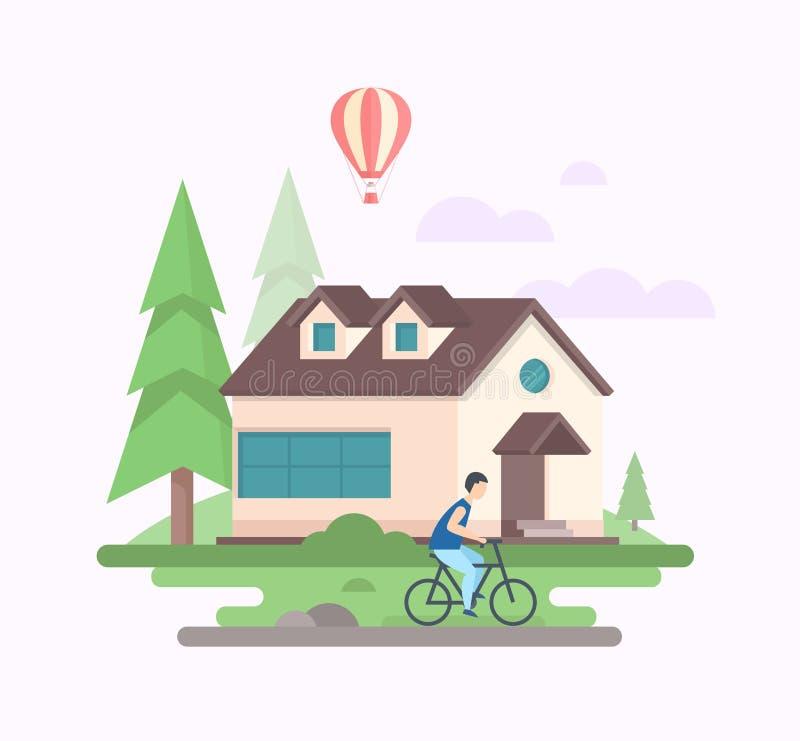 Landschap met een huis - de moderne vlakke vectorillustratie van de ontwerpstijl vector illustratie