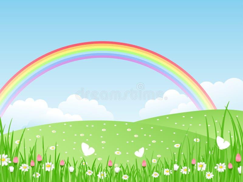 Landschap met een Regenboog. vector illustratie