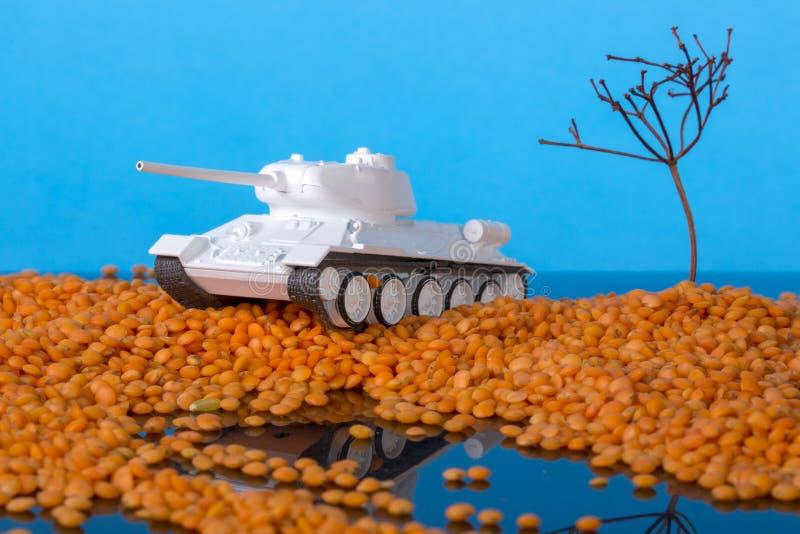Landschap met eilanden in het overzees en een model van Sovjettank t-34 royalty-vrije stock afbeelding
