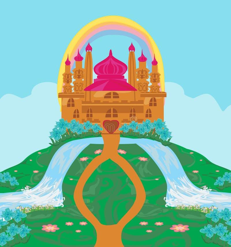 Landschap met fairytalekasteel royalty-vrije illustratie