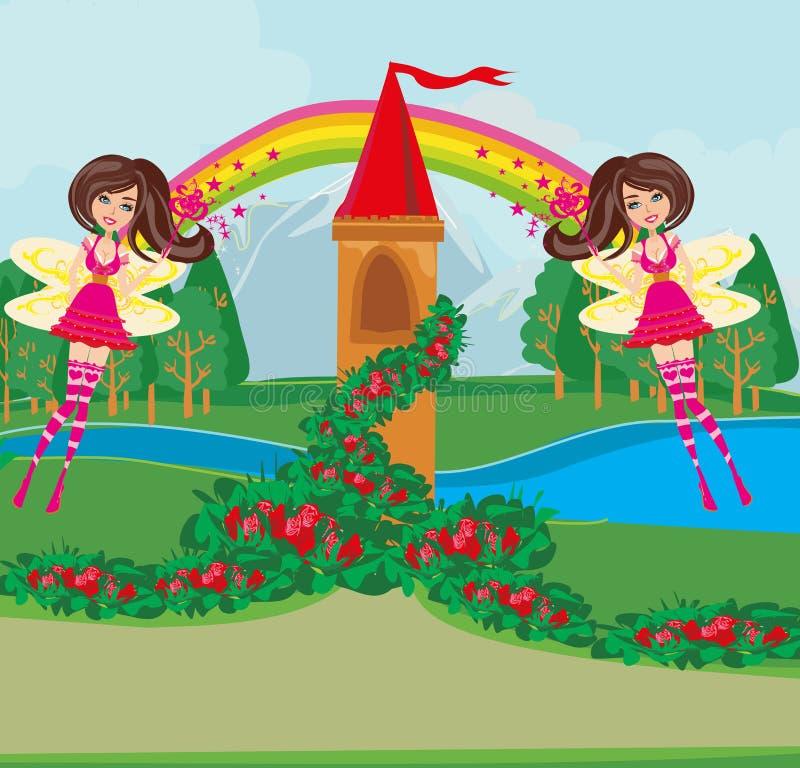 Landschap met fairytaletoren en mooie feeën royalty-vrije illustratie