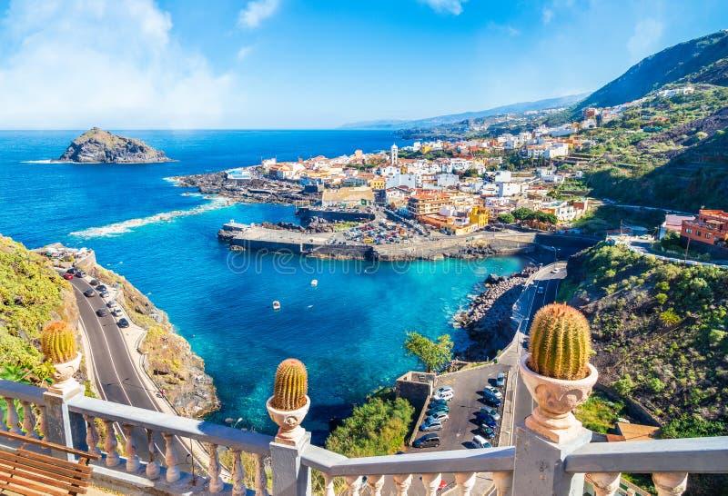 Landschap met Garachico, Tenerife stock foto