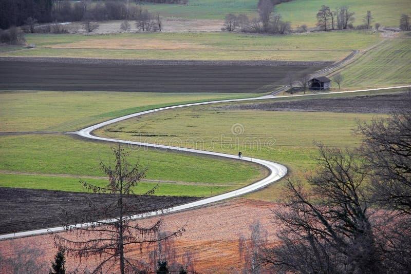 Landschap met gebogen landweg door gebieden en weiden royalty-vrije stock afbeelding
