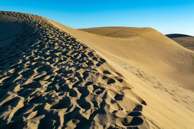 Landschap met gele zandige duinen van Maspalomas en de blauwe Atlantische Oceaan, Gran Canaria, Spanje stock fotografie