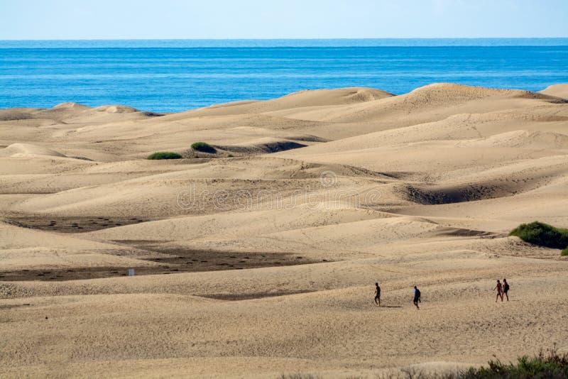 Landschap met gele zandige duinen van Maspalomas en de blauwe Atlantische Oceaan, Gran Canaria, Spanje stock afbeeldingen