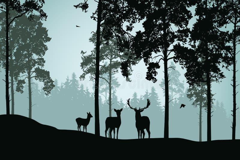 Landschap met groene bos, herten en vogels vector illustratie