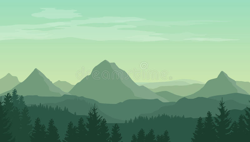 Landschap met groene silhouetten van bergen, heuvels en bos
