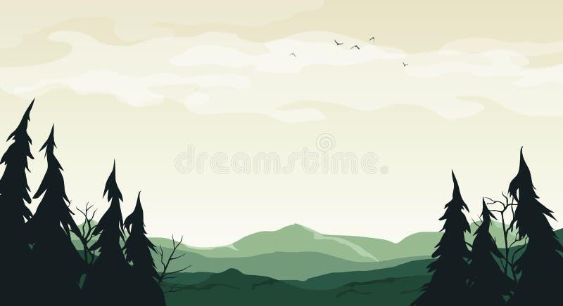 Landschap met groene silhouetten van heuvels, bomen en takken - vectorbeeldverhaalillustratie royalty-vrije illustratie