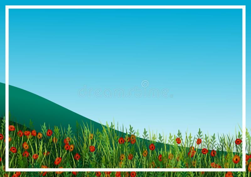 Landschap met heuvels en gebied van papavers royalty-vrije illustratie
