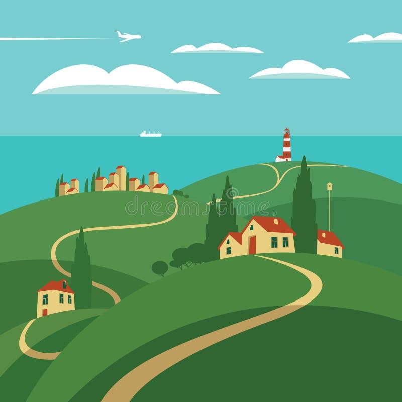 Landschap met heuvels en overzees royalty-vrije illustratie