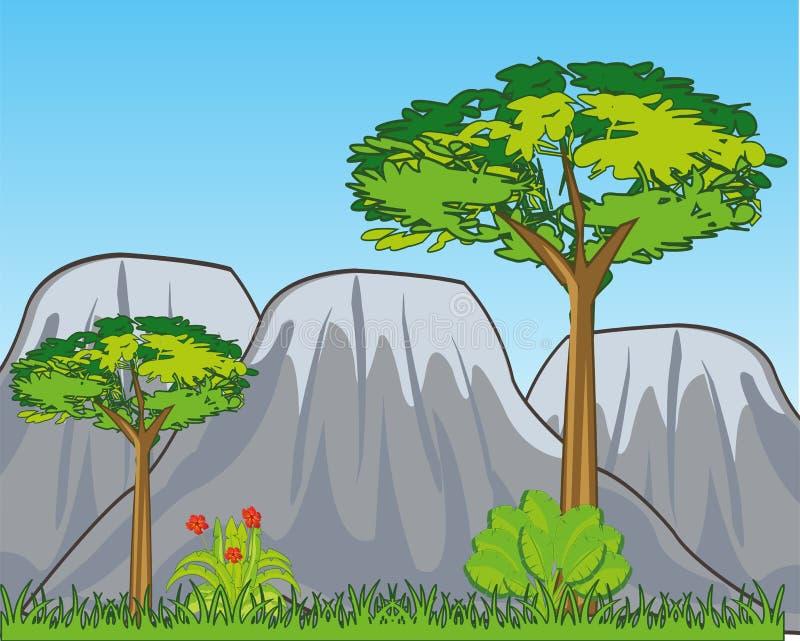 Landschap met jaaraard en bergen Vector illustratie royalty-vrije illustratie