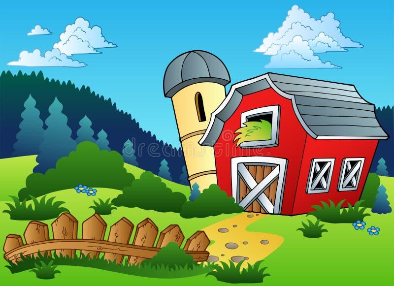 Landschap met landbouwbedrijf en omheining stock illustratie