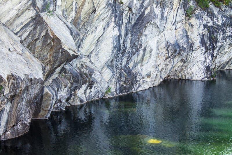 Landschap met marmeren steengroeve in ruskeala stock fotografie