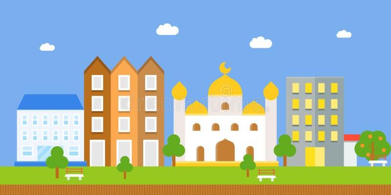 Landschap met masjid en de bouw, vlak pictogram stock illustratie