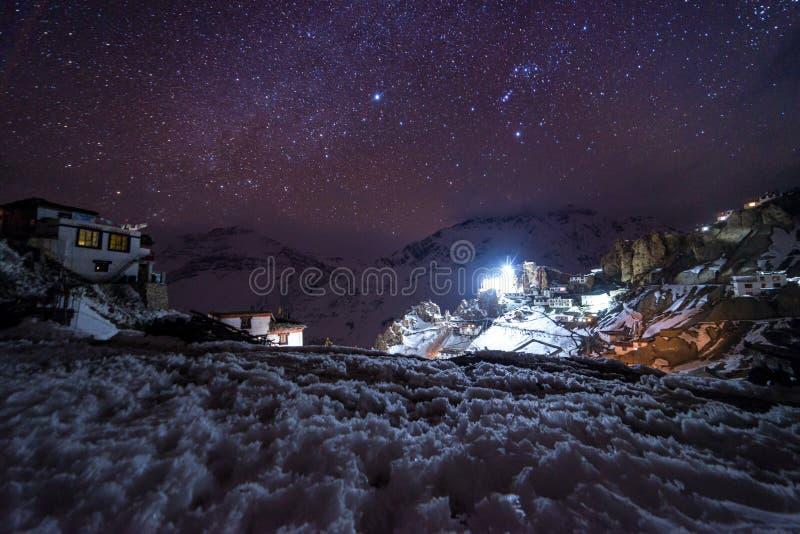 Landschap met Melkachtige maniermelkweg Nachthemel met sterren stock afbeelding