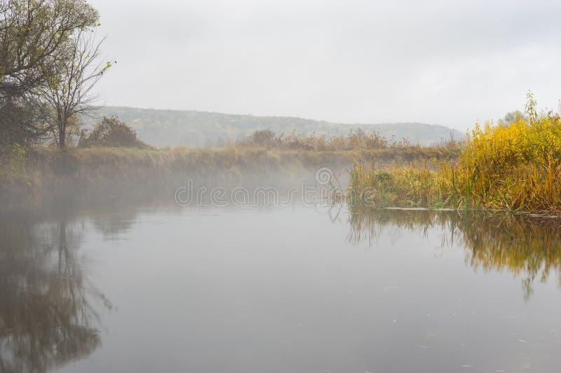 Landschap met mistige Vorskla-rivier bij herfstseizoen in Sumskaya oblast, de Oekraïne stock foto