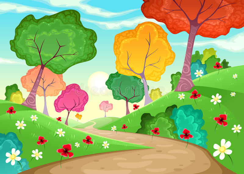 Landschap met multi-colored bomen stock illustratie