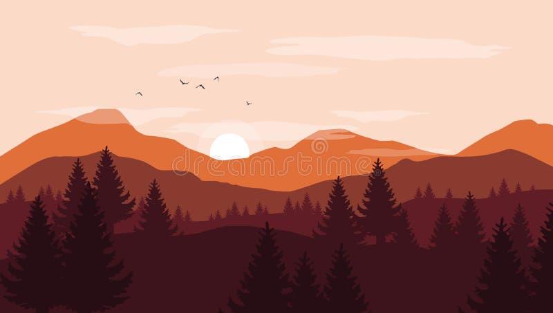 Landschap met oranje en rode silhouetten van bergen en heuvels stock illustratie
