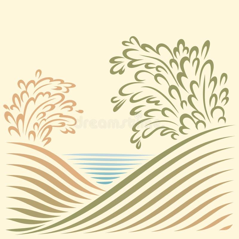 Landschap met overzeese mening vector illustratie