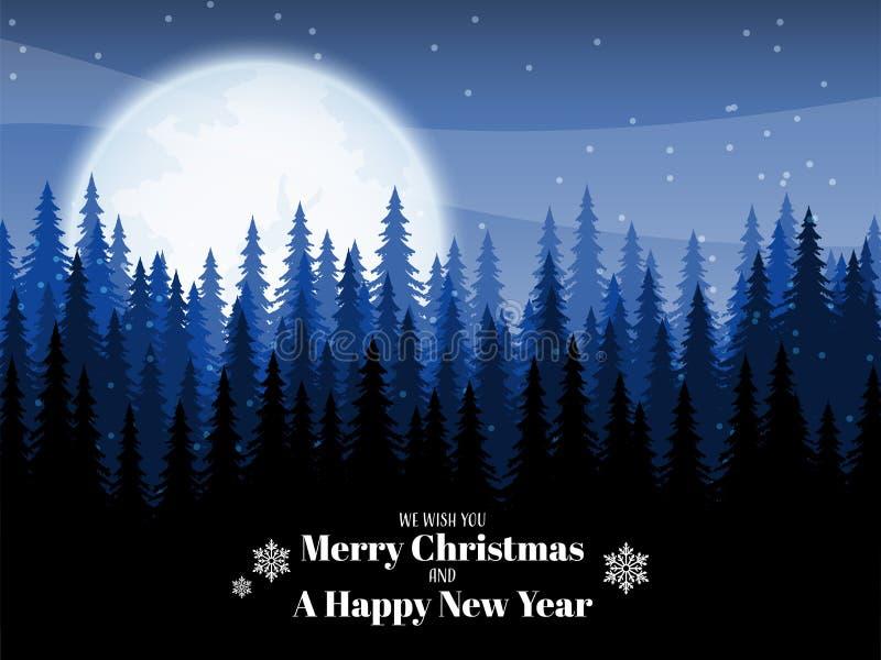 Landschap met pijnboombomen op sneeuwheuvel met sneeuwvlok en Vrolijke Kerstmisteksten vector illustratie