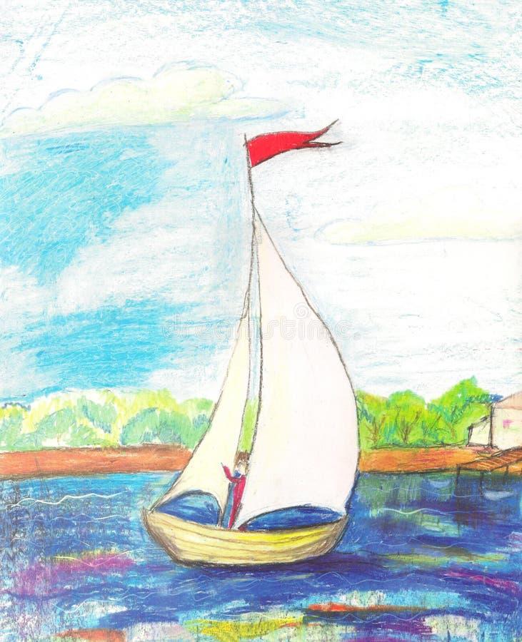 Landschap met rivier en boot royalty-vrije illustratie