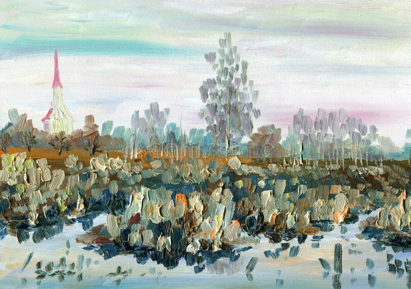 Landschap met rivier en bos De lentelandschap met een kerk, een meer en bomen royalty-vrije illustratie