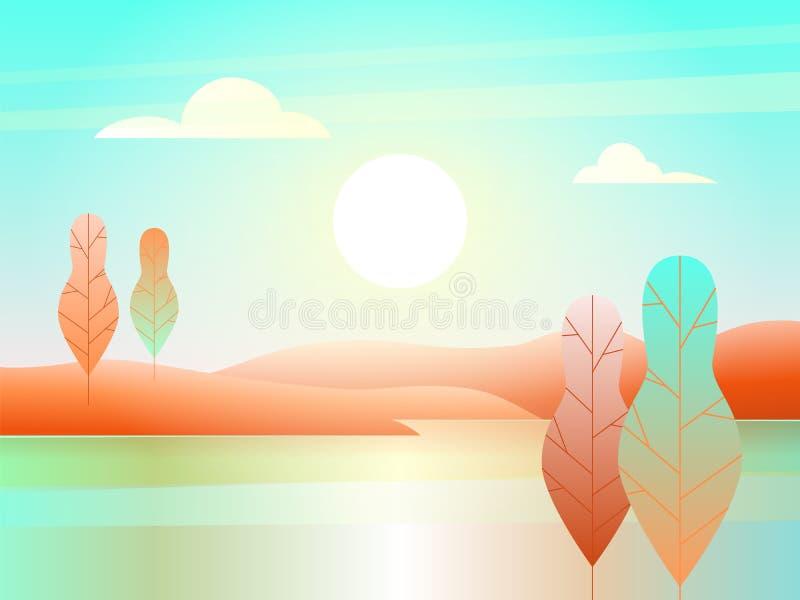 Landschap met rivier in vlak ontwerp vector illustratie