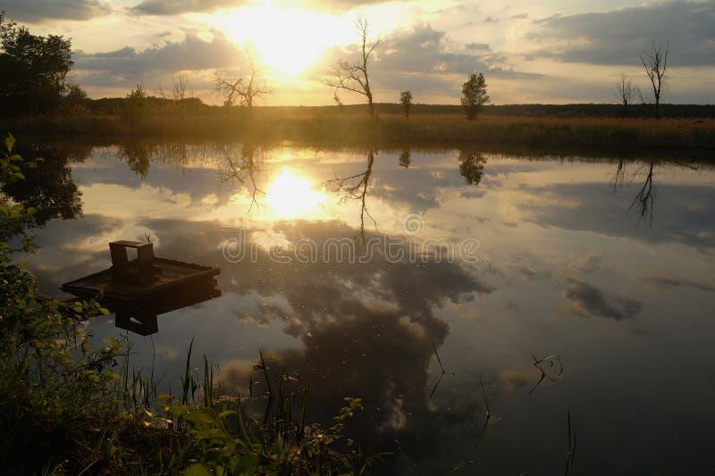 Landschap met rivier in vroege avondtijd stock afbeelding