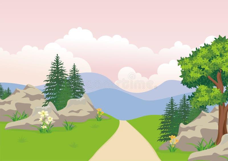 Landschap met rotsachtige heuvel, het Mooie en leuke ontwerp van het landschapsbeeldverhaal stock illustratie