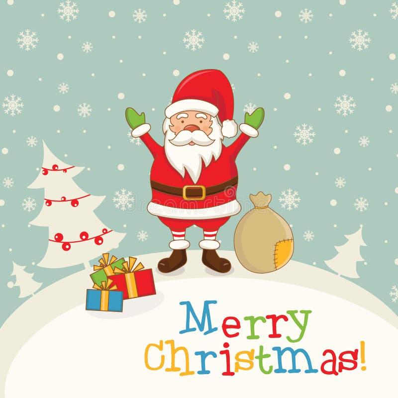 Landschap met Santa Claus, giften en sneeuwvlokken Vector IL vector illustratie