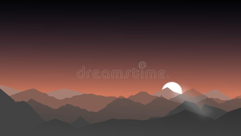 Landschap met silhouetten van bergen en bos bij zonsopgang stock illustratie